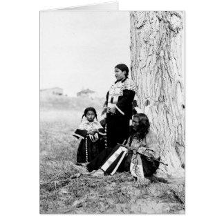 Cartão Pai e família do nativo americano