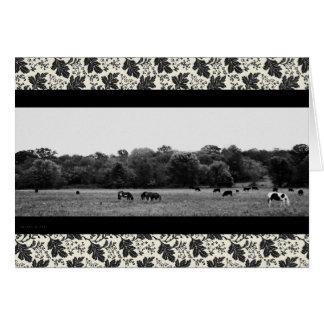 Cartão Paisagem de B/W com cavalos e vacas