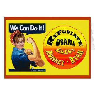 Cartão Palin o rebitador - Refudiate Obama - eleja Romney