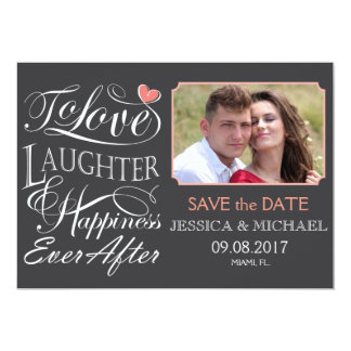 Cartão Para amar nunca, riso e felicidade após citações