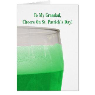 Cartão Para o grandad, cerveja verde para o dia de St