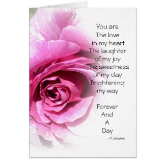 Cartão Para sempre e um poema do dia com aumentou