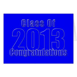 Cartão Parabéns azuis e de prata da graduação