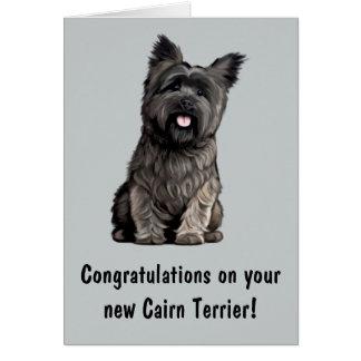 Cartão Parabéns em seu monte de pedras Terrier novo