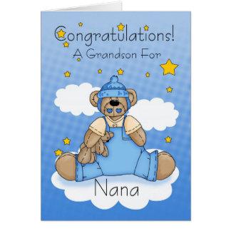 Cartão Parabéns novos do bebé de Nana