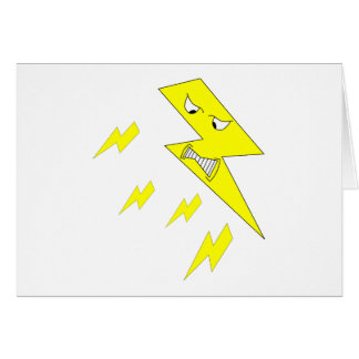 Cartão Parafuso de relâmpago irritado. Amarelo no branco
