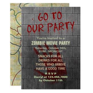 Cartão Parede sangrenta do apocalipse do vivo do partido