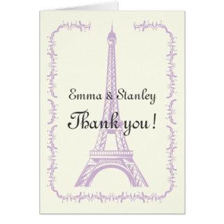 Cartão Paris que wedding o obrigado roxo da torre Eiffel