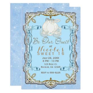 Cartão Partido azul de Cinderella do ouro da prata da