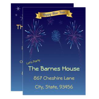 Cartão Partido azul do ano novo dos fogos-de-artifício