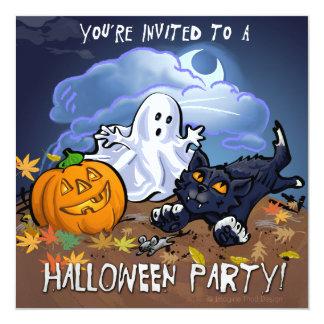 Cartão Partido bonito do Dia das Bruxas
