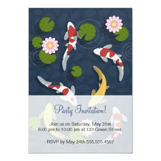 Cartão Partido da lagoa de peixes de Koi do japonês