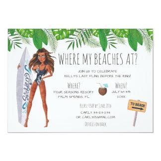Cartão Partido da praia do surf de Bachelorette da
