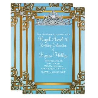 Cartão Partido da princesa Coroa Tiara Doce 16 do azul &