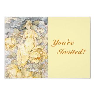 Cartão Partido de jardim dourado cor-de-rosa da deusa |