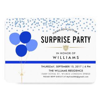 Cartão Partido de surpresa temático da polícia
