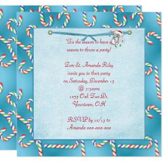Cartão Partido do bastão de doces do Natal