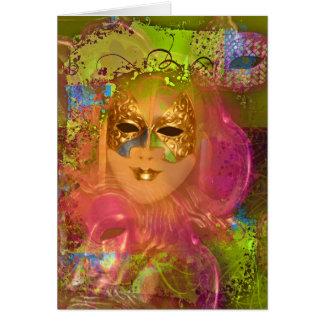 Cartão Partido venetian do traje de mascarada da máscara