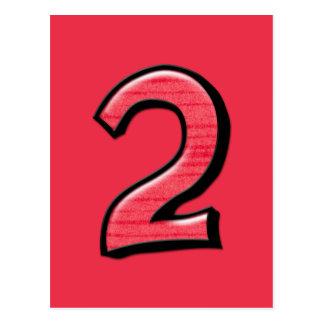 Cartão parvo do vermelho do número 2 cartao postal