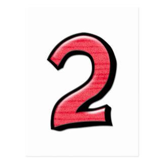 Cartão parvo do vermelho do número 2 cartão postal
