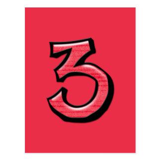 Cartão parvo do vermelho do número 3 cartoes postais