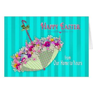 Cartão Páscoa, de nossa casa a seu - guarda-chuva/flores