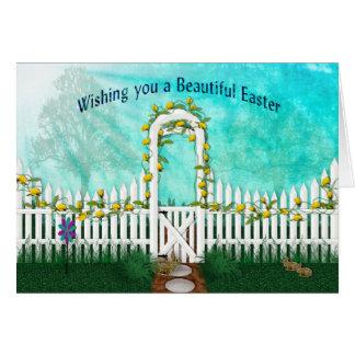 Cartão Páscoa - jardim com rosas amarelos/treliça