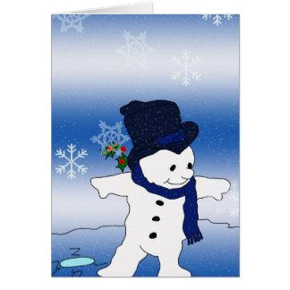 Cartão Patinagem do boneco de neve