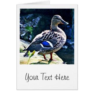 Cartão Pato fêmea que mantem um olho em você