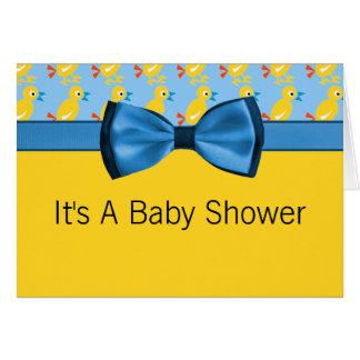 Cartão Patos do bebê no chá de fraldas amarelo & azul