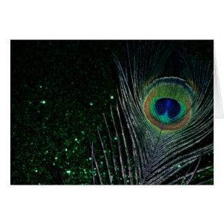 Cartão Pavão verde Glittery escuro