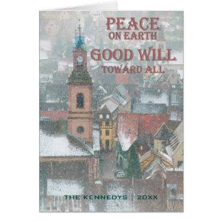 Cartão Paz na terra - vista da vila de Alsácia - France