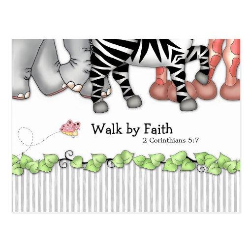"""Cartão pela fé de BaZooples """"caminhada"""" Cartões Postais"""