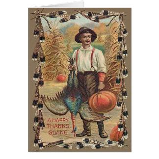 Cartão Penas de choque de milho da abóbora de Turquia do