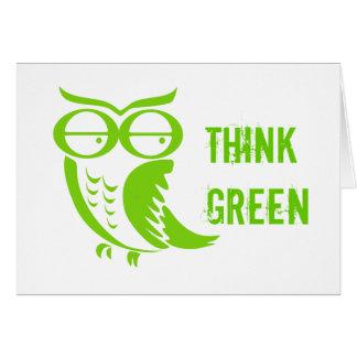Cartão Pensamentos do verde da coruja de Dia da Terra