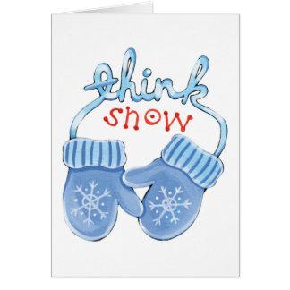 Cartão Pense mitenes da neve