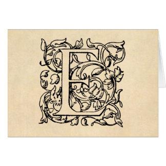 Cartão Pergaminho do amarelo do monograma da letra E do