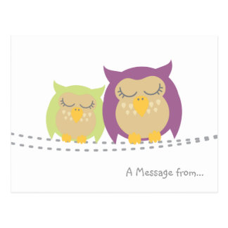 Cartão personalizado da coruja de Kawaii