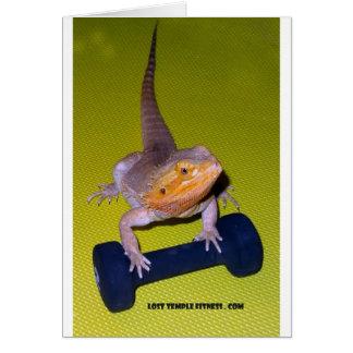 Cartão pesos de levantamento do dragão farpado