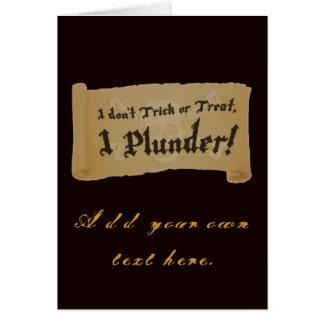 Cartão Pilhagem do pirata do Dia das Bruxas