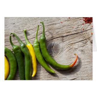 Cartão Pimenta de pimentão amarela e verde