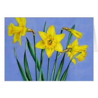 Cartão pintado amarelo da arte dos Daffodils Cartão De Nota