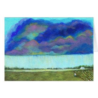 Cartão Pintura de paisagem abstrata da arte popular do