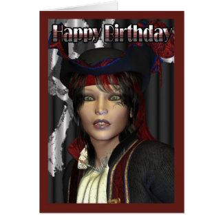 Cartão Pirata da fêmea do feliz aniversario
