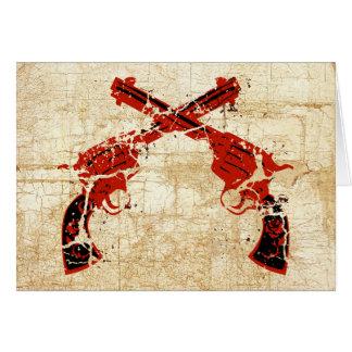 Cartão Pistolas cruzadas retros