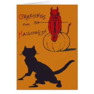 Cartão Pitchfork do demónio do diabo da abóbora do gato