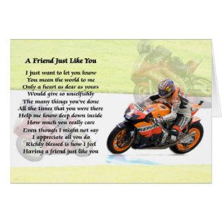 Cartão Poema do amigo do design do velomotor