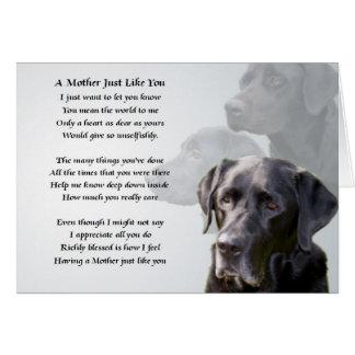 Cartão Poema preto da mãe de Labrador