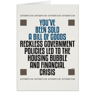 Cartão Políticas imprudentes do governo