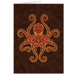 Cartão Polvo vermelho dourado intrincado
